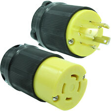 30A Generator Plug + Connector Set Black/Yellow L14-30P 2711 + L14-30R 2713
