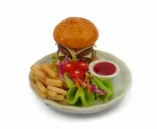 Hamburger and French Fried on Plates Dollhouse Miniatures Food Deco Barbie