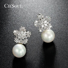 Women Charm Ear Drop Dangle Earrings Flower Design Pearl CZ Lady Bridal Jewelry