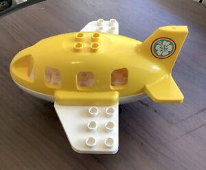 Lego Duplo Vehicle Passenger Airplane Plane Yellow White Hawaiian Flower Logo