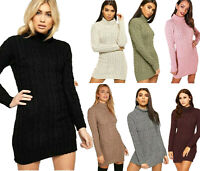 Ladies Chunky Cable Knitted Jumper Womens Winter Polo Neck Long Sleeve Dress New
