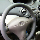 Gray Color Soft PU Leather DIY Car Steering Wheel Cover With Needles and Thread