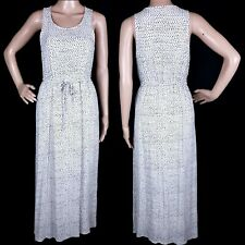 Lucky Brand Women Dress Maxi Sleeveless Drawstring Ivory Black Size S