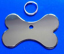 Dog ID Tag Quality Chrome Bone PET Tags Reflective Mirror Finish ENGRAVED FREE