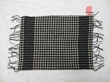 Ralph Lauren 100% WOOL Black Cream Checked Plaid Fringe Decorative Pillow Sham