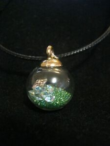A Green Under Water World Round Glass Globe Necklace with Mini Shells & Bubbles