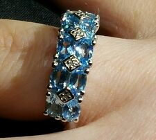 Swiss Blue & White Topaz  2.68ct.Solid Sterling Silver Ring.Size J-K Hallmarked