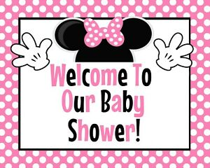 Disney Baby Minnie Mouse STAND UP Welcome to Our Baby Shower Sign 8.5x11