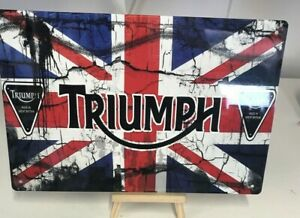 Triumph Tin Metal Sign Plaque Bar Pub Vintage Retro Club Tavern #LARGE