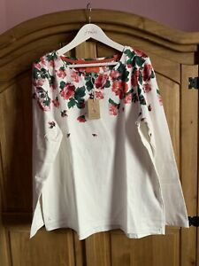 JOULES WOMENS HARBOUR PRINTED JERSEY TOP - CREAM ROSE BORDER - SIZE 12
