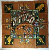 HERMES Carre 90 LE TAROT 100% Silk Scarf Brown dark green Used Made in France