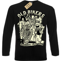Old bikers T-Shirt never happy unless riding Mens Long Sleeve