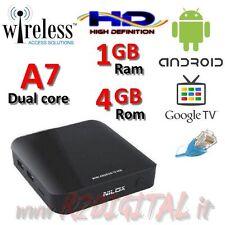 ANDROID BOX NILOX DUAL CORE MKV WIRELESS ETHERNET LAN TELECOMANDO TV SMART HD