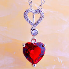 Engagement Heart Jewelry Ruby & White Topaz Gemstone Silver Pendant Necklace