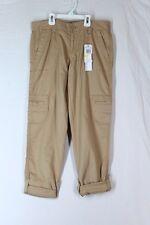 CALVIN KLEIN JEANS Chino Capri Pants 2 XS Khaki Cargo Pockets Cotton Rolled Hem