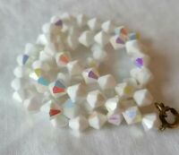 Vintage Aurora Borealis White Milk Glass Carnival Rainbow Glass Rare Necklace