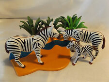 Playmobil Zebra Family, Baby w/ Grassy River Landscape, Safari, Zoo, Ark Animals