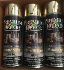 6 Cans Premium Decor Metallic Spray Paint, Gold  - 12 oz One Case New