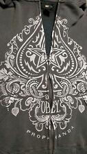 OBEY HOODIE- Mens gray full zip OBEY PROPAGANDA design sweatshirt. Sz L
