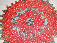 "Vintage Pillow Sham Round 13"" Dimensional Stars Flowers Polk Dots"