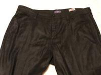 NYDJ Not Your Daughters Jeans Black Linen Tencel Woman's Trousers Pants 14 34x31