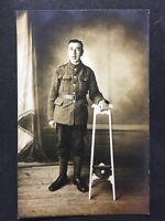 Vintage Postcard: Military Real Photo WW1 #M5 - Solider In Uniform Service Corps
