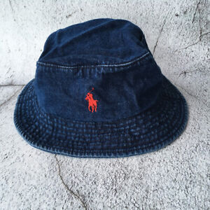 Embroidery Bucket Hat Small Horse Polo Denim Jeans Blue Unisex Cap 100% Cotton