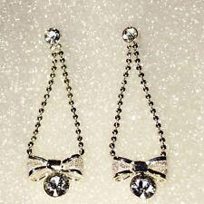 "1 3/4"" Long Rhinestone Bow Silver Tone Plate Bead Ball Chain Dangle Earrings"