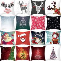 JW_ Christmas Santa Snowflake Cushion Cover Throw Pillow Case Xmas Home Decor