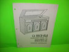 Rock Ola 453 454 Jukebox Phonograph Music Parts List Catalog Original 1974
