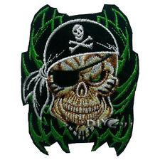 Green Fire Skull Patch Pirate Sticker Decal Cross Corsair Helmet Atv with Bones
