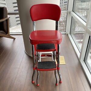 Vintage Cosco Red Chrome Kitchen Step Stool Chair Retro Counter Sliding Steps