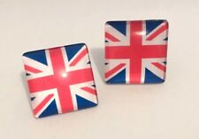 Large Square Travel Union Jack Print Glass Clip On Stud Earrings Free Shipping