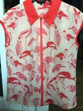 Ted Baker Pale Pink Birds Owl Flamingo Blouse NWOT Medium