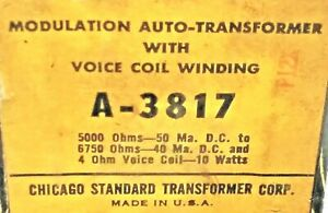 1 NOS STANCOR A-3817 MODULATION AUTO-TRANSFORMER WITH VOICE COIL 10 WATTS