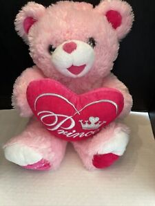 "Dan Dee Large Pink Plush Princess Bear Heart Sweetheart Teddy 20""Stuffed 2019"