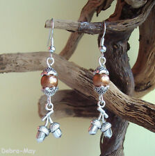 Pretty Bronze Glass Pearl and Acorns Charm Dangly Silver Plated Earrings