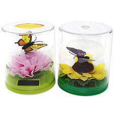 Solar Toys - set of 2 Magnetic Floating Butterfly over a Pink Peony & Sunflower