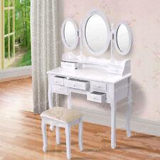 Vanity Makeup Dressing Table Set w/Stool 7 Drawer Folding Mirror Wood Desk US