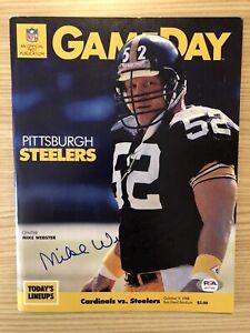 Mike Webster Signed Inscribed 1988 Steelers Football Program w/ HOF 97 PSA