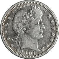 1901-O Barber Quarter Nice XF Details Bright White Nice Eye Appeal