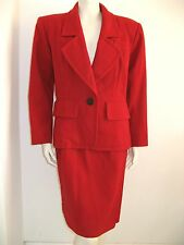 YVES SANIT LAURENT RIVE GAUCHE SUIT HOT RED Vintage 1980's size 10 M FRENCH 40