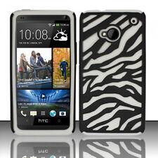 For HTC One / M7 HARD Hybrid Zebra Fusion Rubber Case Phone Cover Black White