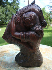 COWGIRL/LADY HUGGING HER HORSE STAINED CEMENT CONCRETE GARDEN STATUE