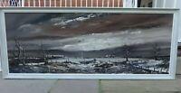 Original Large Vintage  Oil Painting  Landscape, River, Wind Mill signed