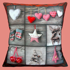 "NEW Shabby Chic 'Patchwork' Christmas Tree Decorations 16"" Pillow Cushion Cover"
