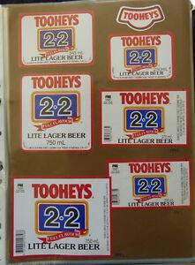 VINTAGE AUSTRALIAN BEER LABELS - LOT OF 6 TOOHEYS 2.2 LITE LAGER #2