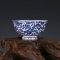 Fine Chinese Qing Qianlong old antique Porcelain blue white dragon bowl