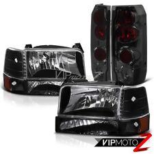 FORD 1992-1996 Bronco F150/F250 L+R Black Headlight+Amber Bumper Lamp+Tail Light