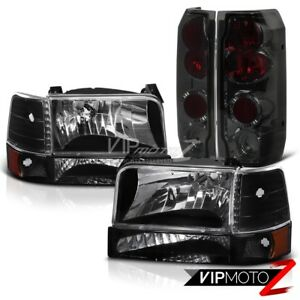FORD 1992-1996 Bronco F150/F250 L+R Black Headlight+Amber Bumper Lamp+Tail Light
